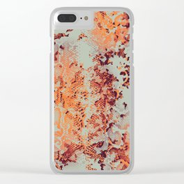 camouflage with snake texture in orange Clear iPhone Case