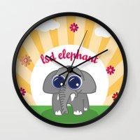 lsd Wall Clocks featuring LSD Elephant by flydesign