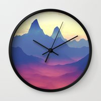 ashton irwin Wall Clocks featuring Mountains of Another World by Phil Perkins