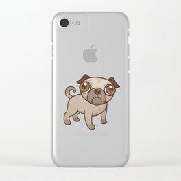 Pug Puppy Cartoon Clear iPhone Case