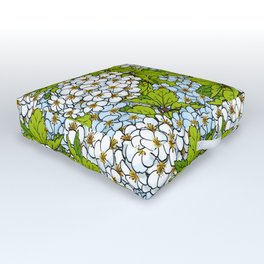 White Spirea Blossoms & Leaves Outdoor Floor Cushion
