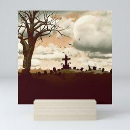 Full Moon Graveyard Sepia Mini Art Print