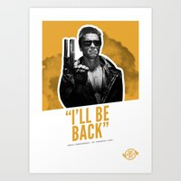 Badass 80's Action Movie Quotes - The Terminator Art Print
