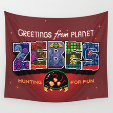 Greetings from Planet Zebes Wall Tapestry