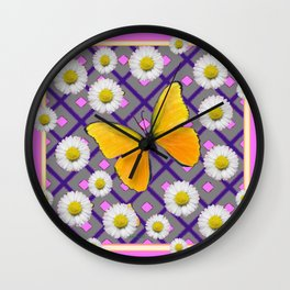 Yellow Butterfly on Lilac-pink Shasta Daisy Grey Abstract Pattern Wall Clock