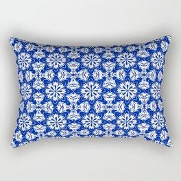 Sapphire Blue Floral Rectangular Pillow