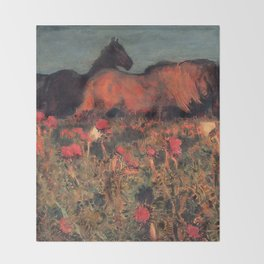 Wild Horses, Red Poppy, & Shepard Night landscape painting  by Mikhail Vrubel Throw Blanket