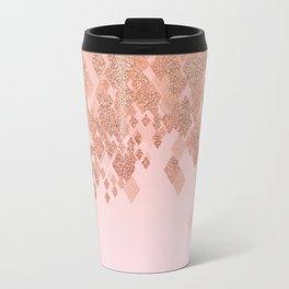 Light Salmon Pink Gradient Faux Glitter Diamonds Travel Mug