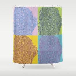 Pop Art Fingerprint Maze Abstract Shower Curtain