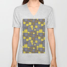 Gray Yellow Brown Blue Funky Mosaic Pattern V11 Pantone 2021 Colors of the Year & Accent Shades Unisex V-Neck