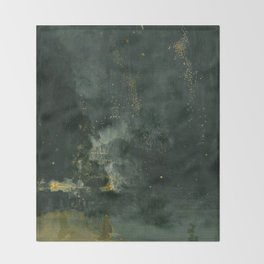James Abbott McNeill Whistler - Nocturne in Black and Gold Throw Blanket