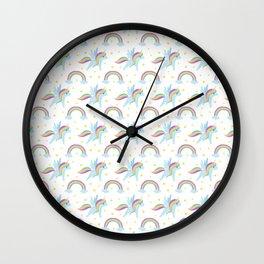 Cute abstract magical pink rainbow unicorn pattern Wall Clock