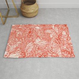 Forest Floor Fire Orange Ivory Rug