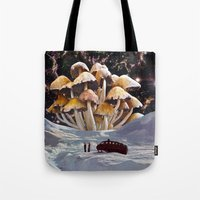 psychadelic Tote Bags featuring Alice in Wonderland by Blaz Rojs
