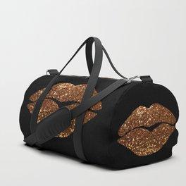 Rosegold Sparkle Kissing Lips Duffle Bag