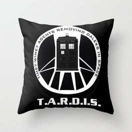Agents of TARDIS black and white Agents of Shield, Doctor Who mash up Throw Pillow
