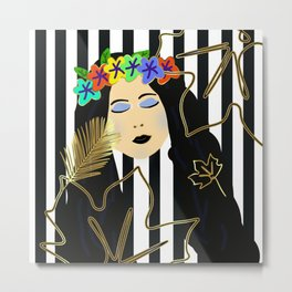 Fall Beauty Girl Metal Print