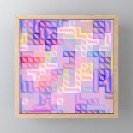 abstract pattern in rose,pink,yellow, blue,purple,checks metal Framed Mini Art Print