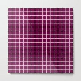 Tyrian purple - purple color - White Lines Grid Pattern Metal Print