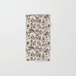 Alice in Wonderland | Toile de Jouy Pattern | Brown | Beige | Vintage Pattern | Victorian Gothic | Hand & Bath Towel