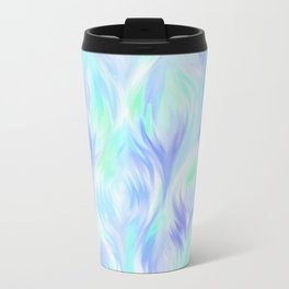 Preppy Blue Watercolor Abstract Ripples Travel Mug