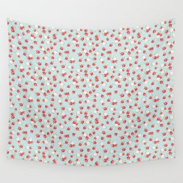 English Rose Pattern on Blue Wall Tapestry