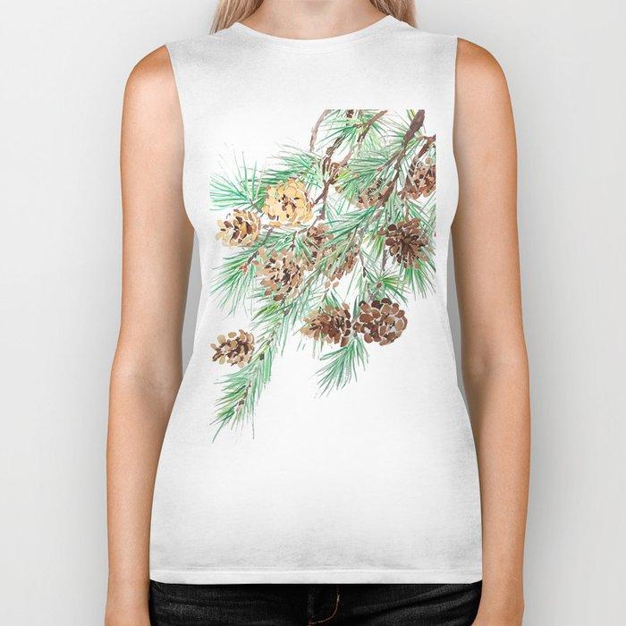 pine cones watercolor Biker Tank