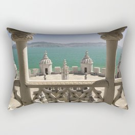 The Torre de Belem tower, view through arches to the river Tejo, Lisbon, Portugal Rectangular Pillow