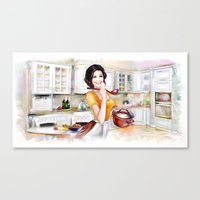 cook Canvas Prints featuring cook by tatiana-teni