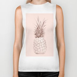 Rose Gold Pineapple on Blush Pink Biker Tank