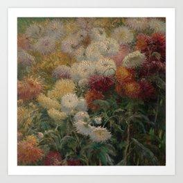 Chrysanthemums in the Garden at Petit-Gennevilliers - Claude Monet Art Print