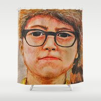 sam smith Shower Curtains featuring Sam by Cameron Wright
