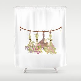 Herbs in Pastel Colors . Shower Curtain
