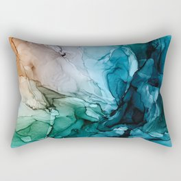 Salty Shores Abstract Painting Rectangular Pillow