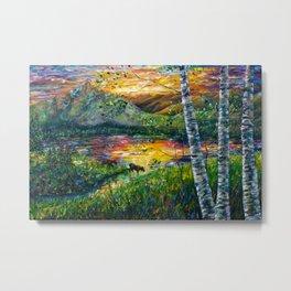 Sleeping Meadow - Colorado Moose Crossing by OLena Art Metal Print