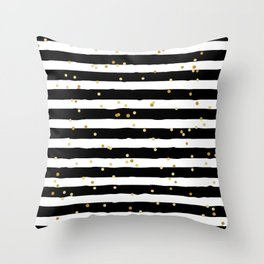 Hand drawn pattern, black and white stripes and gold dots Throw Pillow