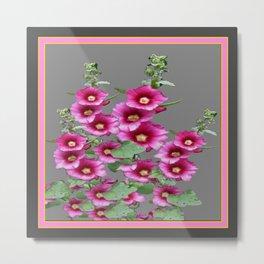 Fuchsia Pink Holly Hocks Grey Vinette Metal Print