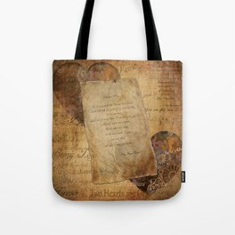 Two Hearts are One - Vintage Romantic Steampunk Art Tote Bag