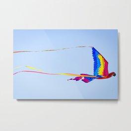 Macaw Parrot Kite Flying at Indian Kite Festival Metal Print