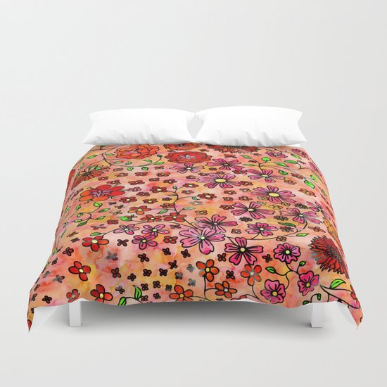 Orange Small Flowers Duvet Cover