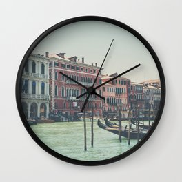 looking along the Grand Canal in Venice Wall Clock