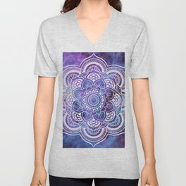 Galaxy Mandala Purple Lavender Blue Unisex V-Neck