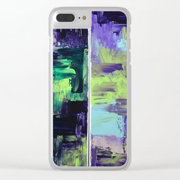 Violet & Green On A Rainy Day Clear iPhone Case