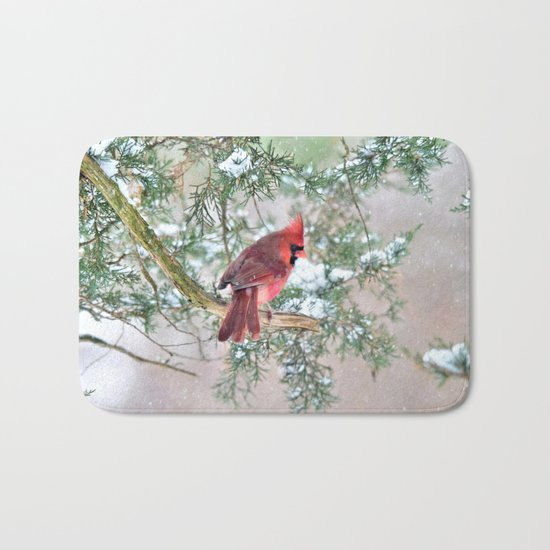 Snow Day Cardinal Bath Mat