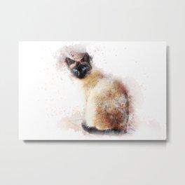 Cat Watercolor Metal Print