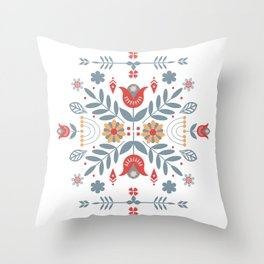 Scandinavian Folk Art Throw Pillow