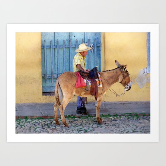 Man and a Donkey Art Print