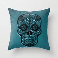 Throw Pillows featuring Skull20151205 by jamfoto