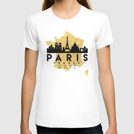 PARIS FRANCE SILHOUETTE SKYLINE MAP ART T-shirt