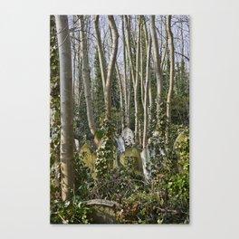 Gravestones in Highgate Cemetery, London Canvas Print